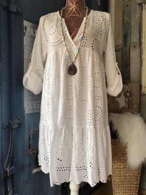 Made in Italy Abito hippie bianco Cotone