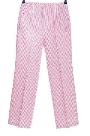 Hirsch Bundfaltenhose pink-weiß Streifenmuster Casual-Look