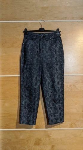 Hirsch Jeans animal prin Schlangenprint blau Baumwolle Größe 40 gekürzt