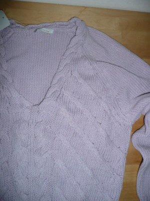 Hirsch kurzer Zopfstrick Pulli Pullover mit V-Neck in flieder rosa Gr 38