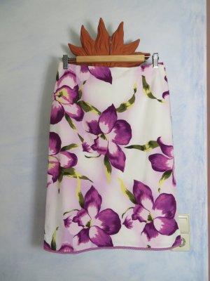 Hirsch Rock - Pastell Floral Print - Weiß Flieder - Gr. 38 M - High Waist geblümt Highquality