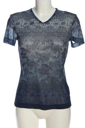 Hirsch T-shirt blu-grigio chiaro motivo astratto stile casual
