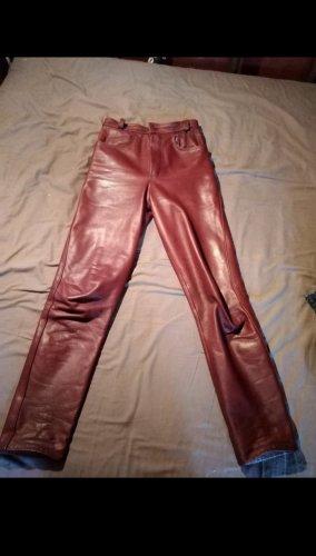 Pantalone in pelle carminio-rosso scuro Pelle