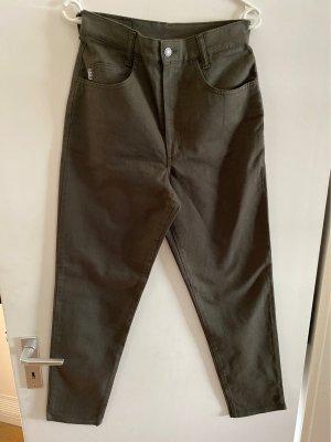 His Pantalon taille haute vert foncé