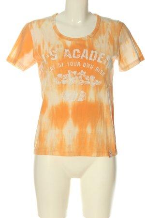 His T-shirt arancione chiaro-crema stampa integrale stile casual
