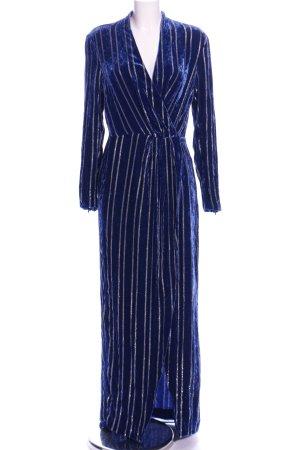HM Abendkleid blau-silberfarben Streifenmuster Casual-Look