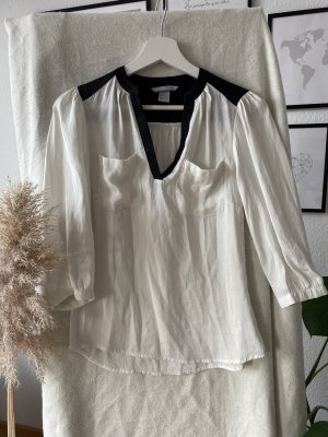 H&M Zijden blouse zwart-licht beige
