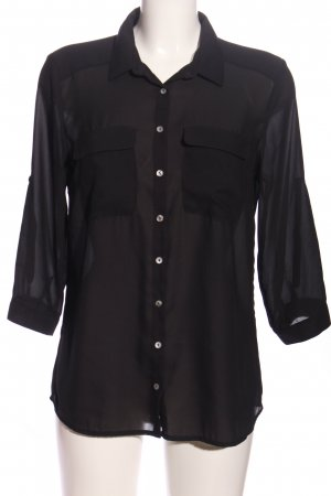 HM Kurzarm-Bluse schwarz Business-Look