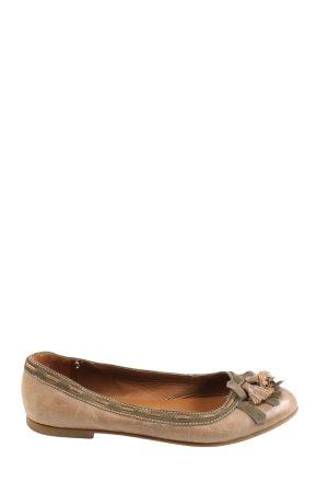 Hobbs Ballerina di pelle verniciata marrone-cachi stile casual