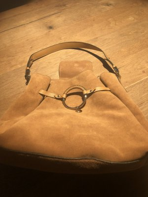Hobo Bag aus Velourleder, Cognac