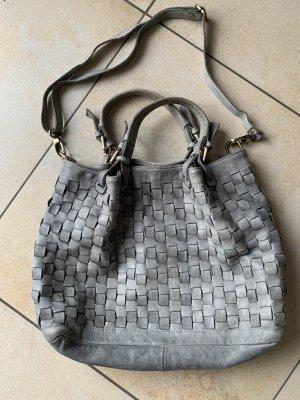 Hobobag Beuteltasche grau/taupe geflochten