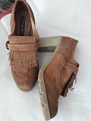 Zara Trafaluc Tacones de plataforma marrón-coñac
