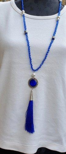 Hochwertige Blaue Perlen Kette Handmade Fransen Neu