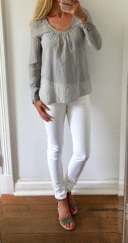 hochwertige Bluse von BLAUMAX * hellgrau * Seide * Gr. S 36