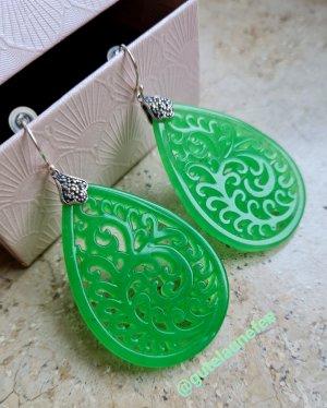 hochwertige grüne Jade Ohrringe * 925 Sterlingsilber * handgeschnitzt