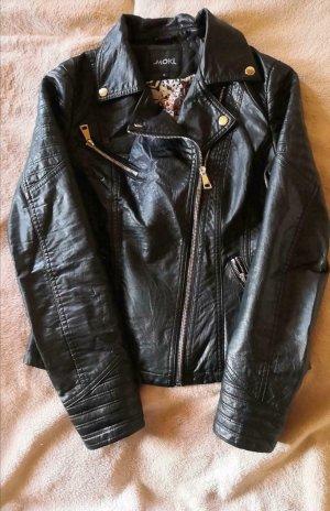 Veste en cuir synthétique noir