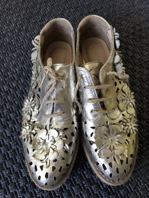 Aqua Lace-Up Sneaker gold-colored leather