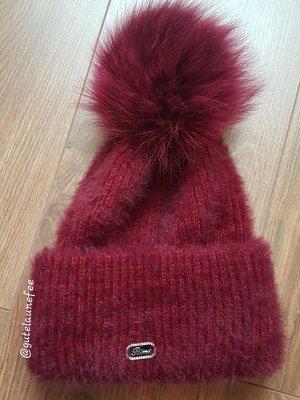 Hochwertige Strickmütze aus Kaninchenhaarwolle (Angor*) Wintermütze kirschrot Pudelmütze echfell Pompon Bommel