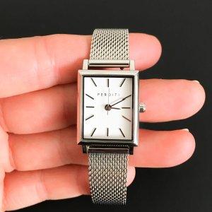 Montre avec bracelet métallique argenté bronze