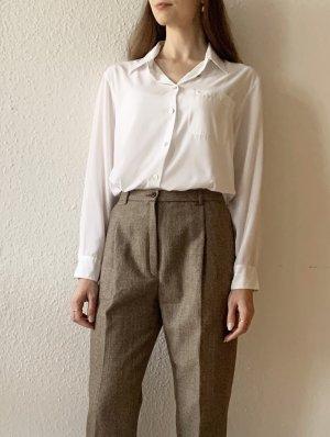 Vintage Pantalón de lana blanco puro-marrón claro