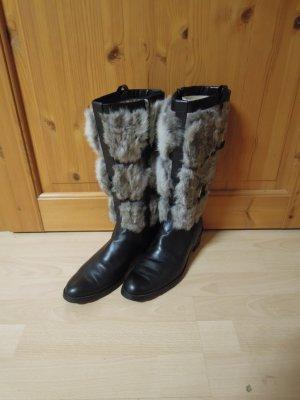 hochwertige warme Stiefel JETTE schwarz grau weiß meliert Gr. 41 UK Größe 7,5 ECHT Fell Leder