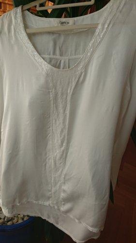 Hochwertige weiße Bluse mit Pailetten Viskose/Seide-Mischung  S
