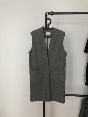 hochwertige Weste Baumwolle/Wolle längerer Schnitt in grau