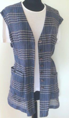 Long Knitted Vest cornflower blue-steel blue linen