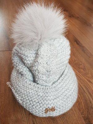 Hochwertige Wolle Strickmütze, grau gefüttert