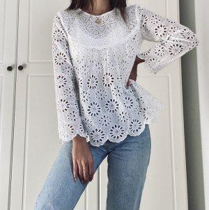 Hochwertige Zara Bluse 100% Baumwolle florale Lochstickerei schneeweiß Blogger Basic
