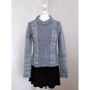 Hochwertiger blauer Strickpullover aus Wolle, Mohair und Acrylwolle