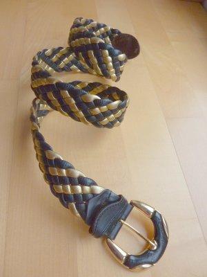 Gevlochten riem donkerblauw-goud