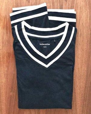 ◉ Hochwertiger dunkelblauer Pyjama, weicher Single Jersey ◉
