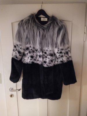 Urbancode Giacca di pelliccia nero-grigio chiaro