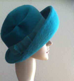 Hochwertiger Hut, in türkis, Wolle, hervorragender Zustand