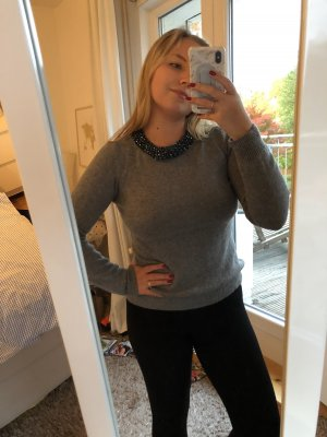 1.2.3 Paris Jersey de lana gris-azul oscuro