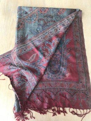 Sciarpa di seta rosso-blu fiordaliso