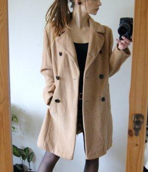 Hochwertiger vintage Wollmantel beige, langer Wintermantel Wolle Trench, preppy