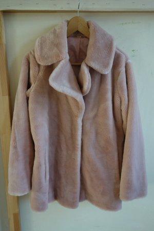 Abrigo de piel rosa empolvado Acrílico