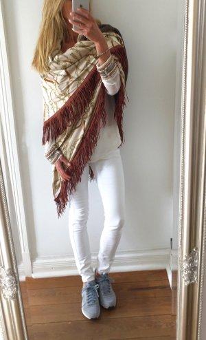hochwertiger Wende Poncho mit Wolle und Lederfransen * Unikat * handmade