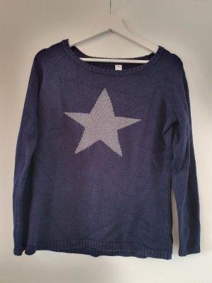 hochwertiger Wollpullover - dunkelblau mit grauem Stern