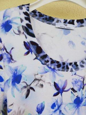 hochwertiges Rippjersey-Shirt mit Mustermix in Weiß, Royal und Marineblau von Peter Hahn