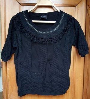 Hochwertiges Strick-Shirt in schwarz mit goldener Borte
