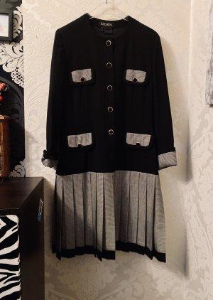 Hochwertiges Timeless Escada Kleid Midi Plisee schwarz weiß kariert Gr 40