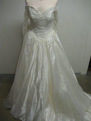 Hochzeit Braut Kleid Creme Vanilla Vintage Stiel langarm Schulterfrei Spitze Gr 38