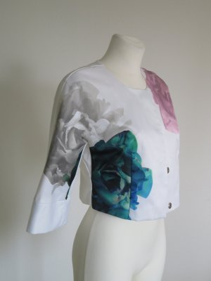 Hochzeit kurze Jacke mit Blumenprint weiß petrol rosa Gr. 36