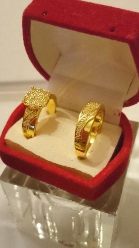 Hochzeit Ringe 925 vergoldet mit Saphire Gr.18