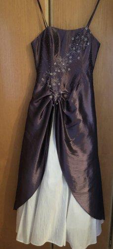 100% Fashion Robe trapèze mauve-blanc coton