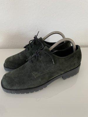 Högl Mokassins dunkelgrün 5 1/2 Schnür Schuhe Echt Leder