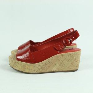Högl Sandalo con plateau rosso mattone Pelle